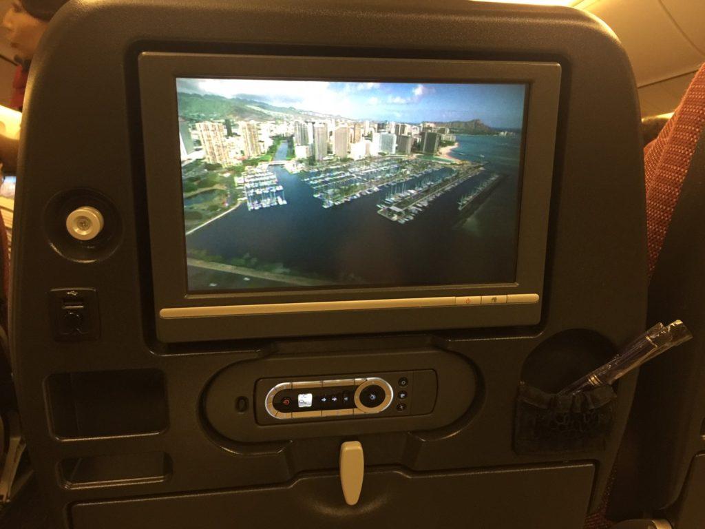 コードシェア便HA5387(JL770)テレビモニター