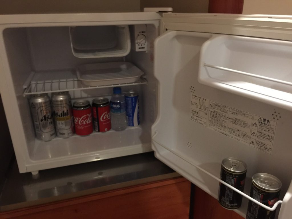 きぬ川ホテル三日月さくら亭 冷蔵庫の中